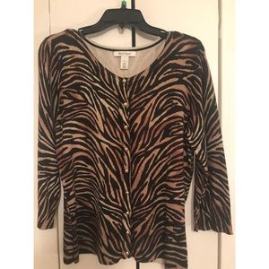 WHITE HOUSE BLACK MARKET /ZEBRA CARDIGAN / SIZE: L